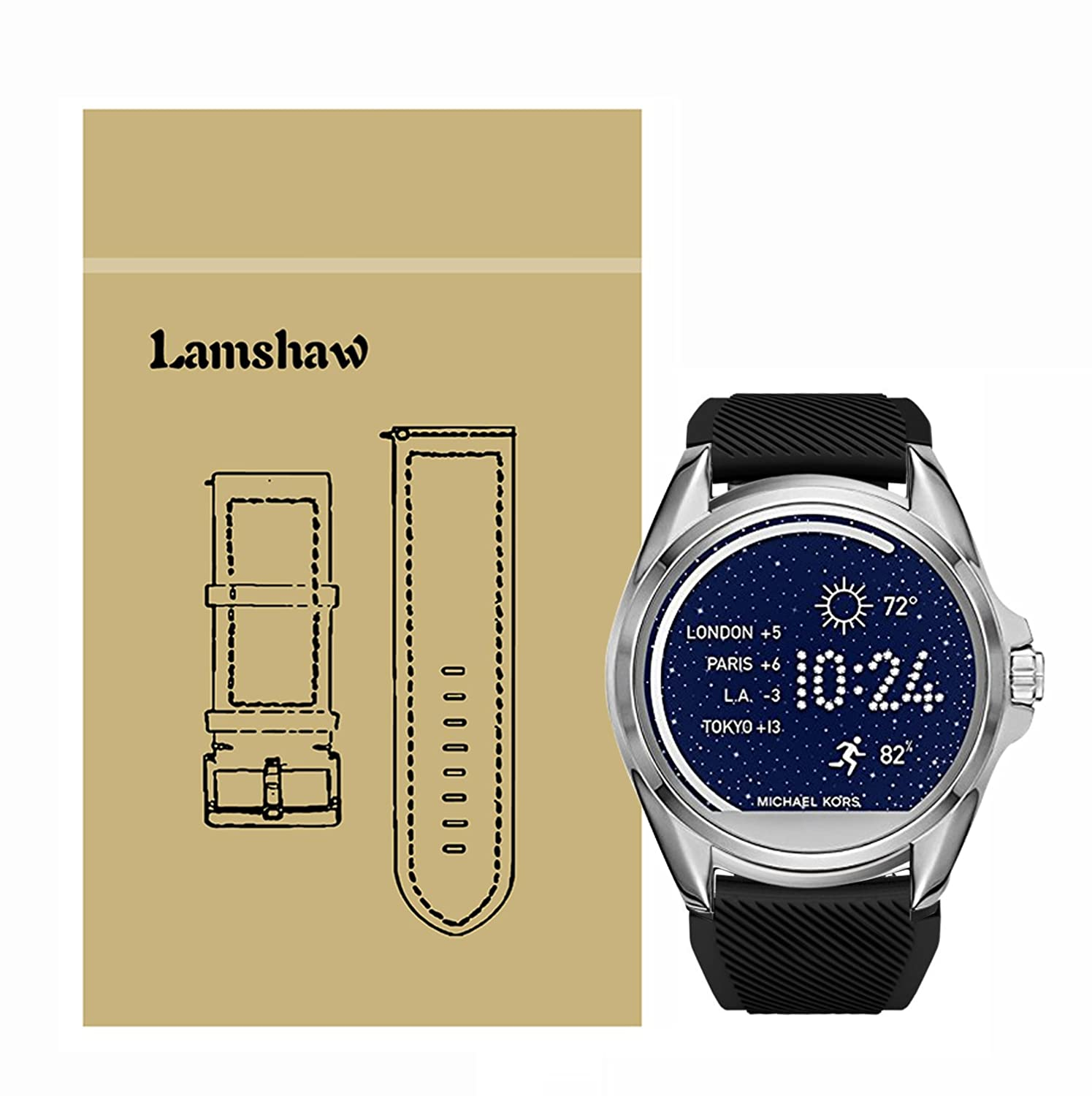 Lamshaw Classic Silicone Replacement Band for Michael Kors Smartwatch Strap (Black)