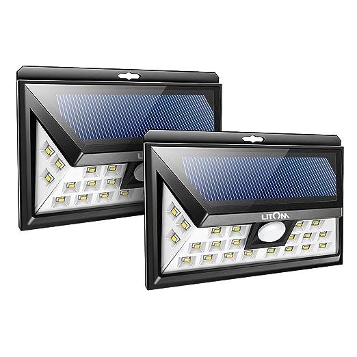 221 opinioni per 2PZ Litom Lampada Solare con Sensore, 24 LED Luce da Esterno ad Energia Solare