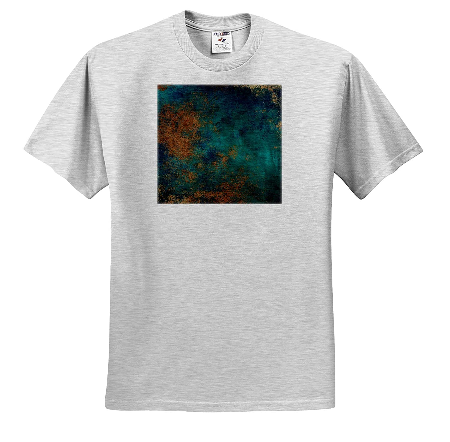 Adult T-Shirt XL Abstract ts/_316248 Teal and Image of Copper Abstract 3dRose Anne Marie Baugh