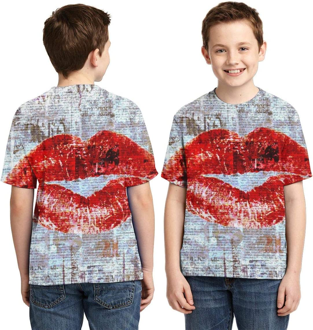 Quguangyan 3D Red Lipstick in Old Paper Boys T-Shirt Short Sleeve Child Tee