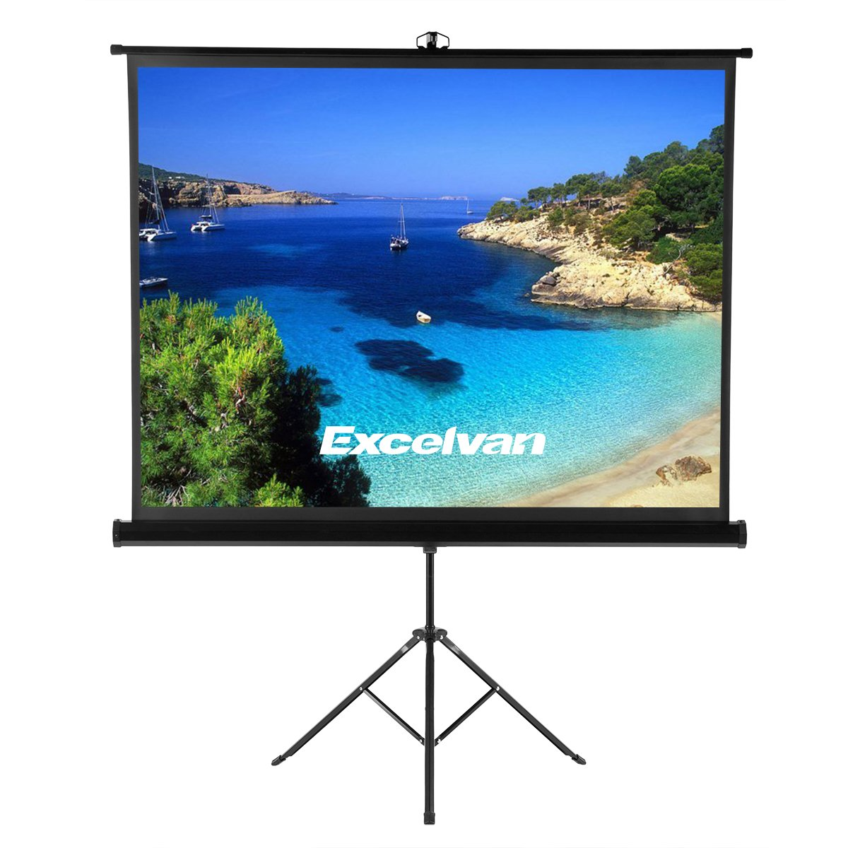 """Portable 100/"""" 4:3 HD Projection Projector Screen Pull Up with Tripod Stand"""