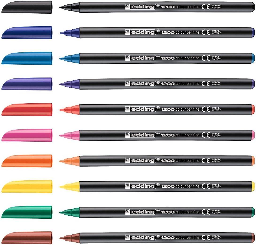 Edding 1200 - Rotulador (1 mm, Negro, Multicolor): Amazon.es: Oficina y papelería