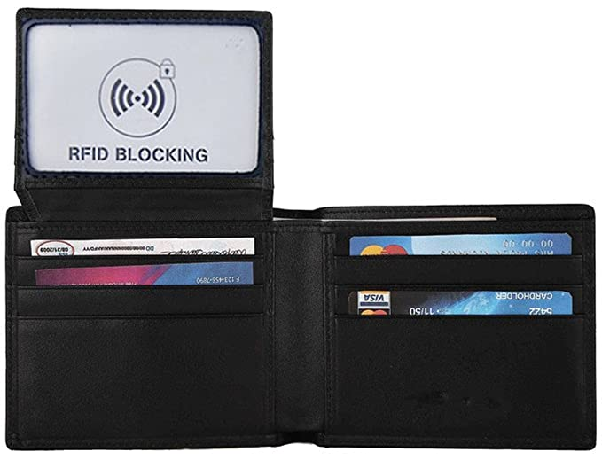 miuincy bloqueo RFID cartera de piel auténtica tipo cartera para hombres - Tarjeta de crédito Protector - negro -: Amazon.es: Ropa y accesorios