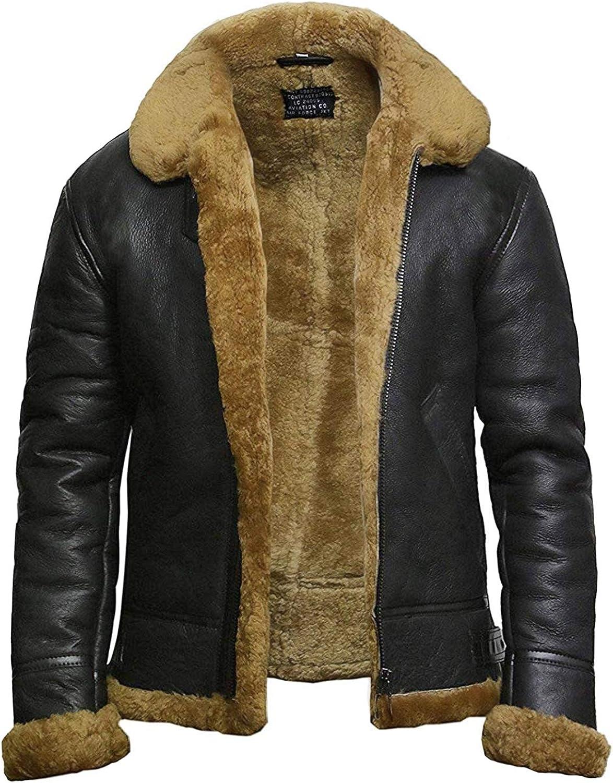 Brandslock Mens Flying B3 Genuine Shearling Sheepskin Leather Bomber Jacket