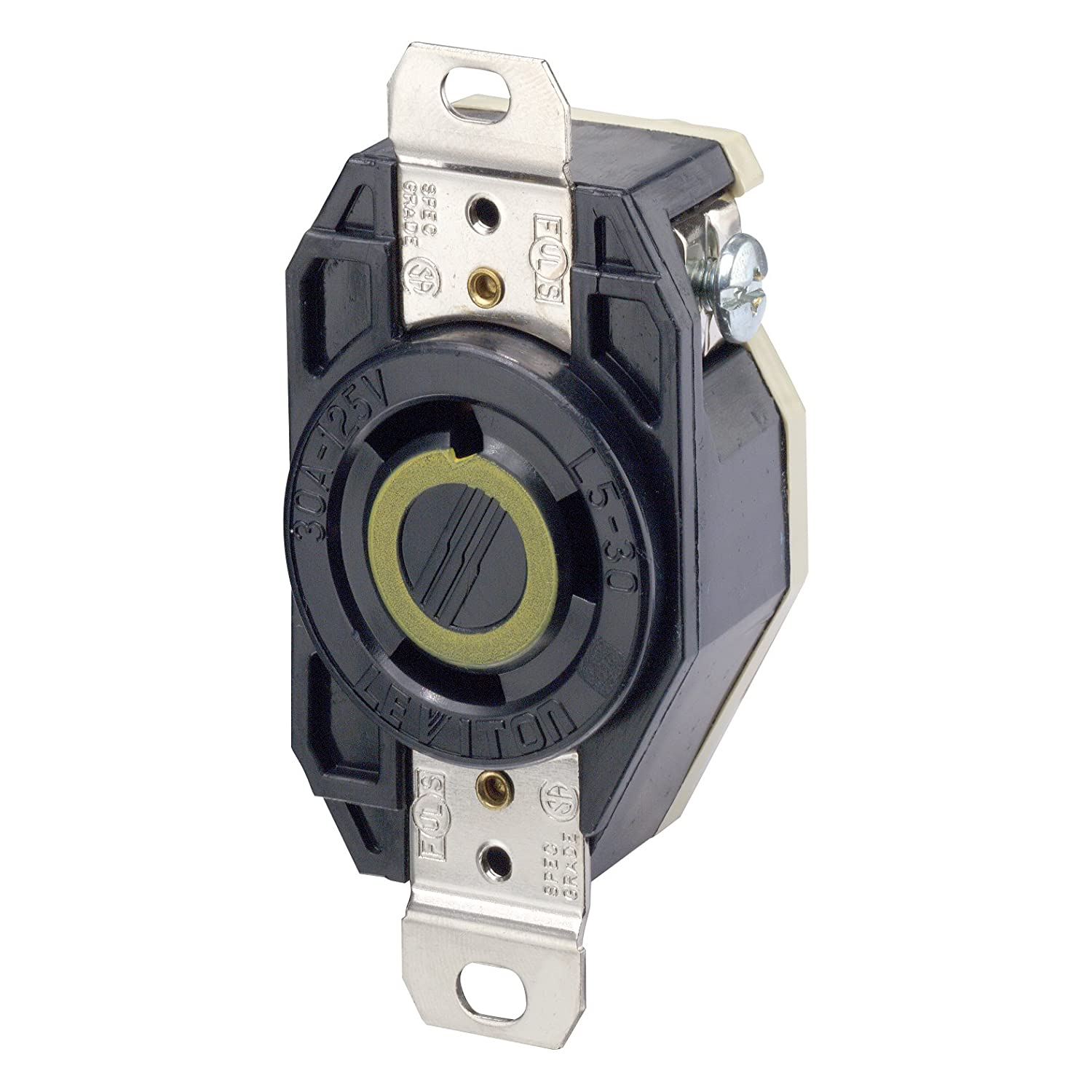 717vHr%2BMnaL._SL1500_ leviton 2610 30 amp, 125 volt, flush mounting locking receptacle leviton 30a flush mount power outlet wiring diagram at bayanpartner.co