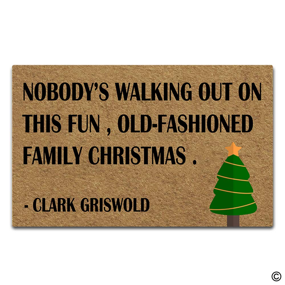 7b4f87a4 Artswow Personalized Doormat Funny Floor Mat Nobody's Walking Out On This  Fun Old Fashioned Family Christmas Door Mat with Non Slip Rubber Backing ...
