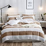 Merryfeel Cotton Duvet Cover Set Queen, 100% Cotton Waffle Weave Stripe Bedding Set 3 Pieces (1 Duvet Cover with 2 Pillowsham