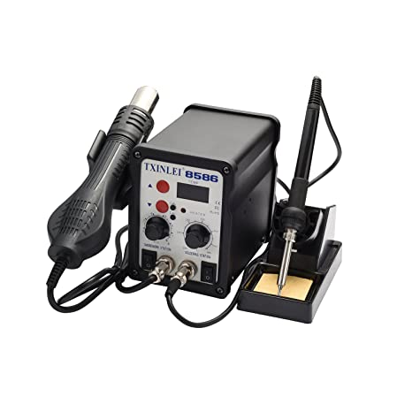 TXINLEI 8586 110V Solder Station, 2 in 1 Digital Display SMD Hot Air Rework Station and Soldering Iron, 12pcs Different Soldering Tips, Solder Wire, ...