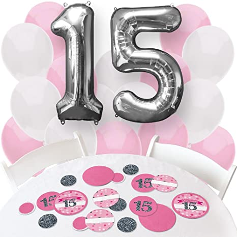 Amazon Com Big Dot Of Happiness Quinceanera Pink Sweet 15
