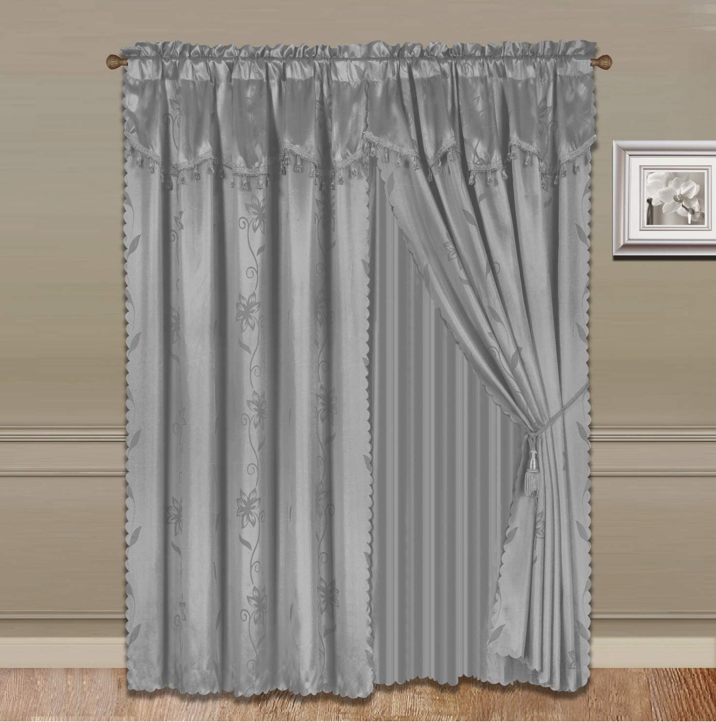 """GorgeousHomeLinen (Nada) One Solid Silver Grey Elegant Rod Pocket Window Curtain Panel Floral Printed Treatment Drape with Matching tieback in 63"""" 84"""" 95"""" 108"""" Length (84"""" Standard)"""