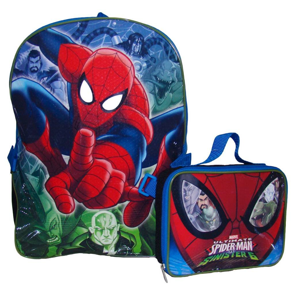 Marvel Spiderman 16 Backpack with Lunch Bag- Ultimate Spider-Man by Global Design   B01KMMSEC6