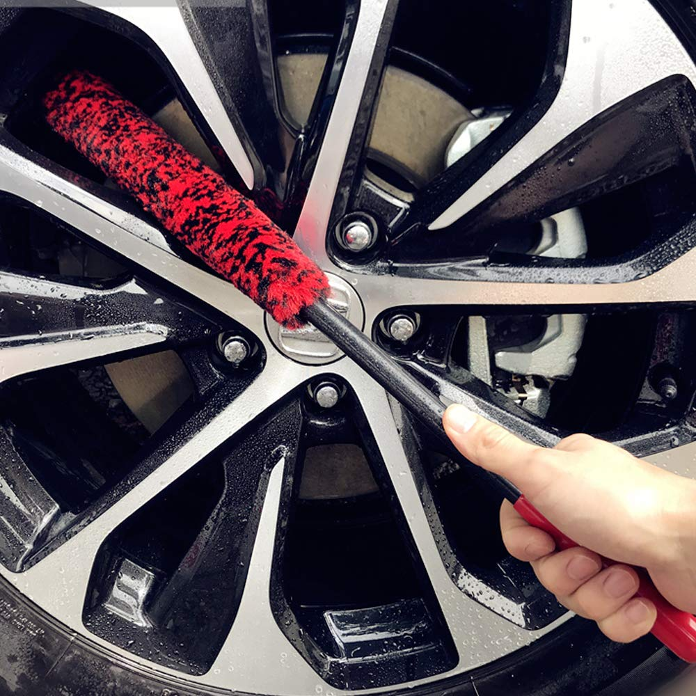 Dense Fibers Clean Wheels Safely 2 Brushes Soft Tire Woolies Wheel Brushes Kit