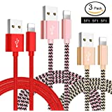 Lightning Cable, 3-PACK 5FT/1.5M Nylon Braided  Charging Cables USB Charger Cord, Compatible for iPhone X/8/8 Plus/7/7 Plus/6/6 Plus/iPad and more (Pink+Gold+Red)