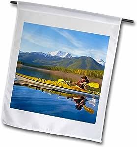 Danita Delimont - Kayaking - Kayaking, Reservoir, Great Northern Mountain, Montana - US27 CHA1805 - Chuck Haney - 18 x 27 inch Garden Flag (fl_91859_2)