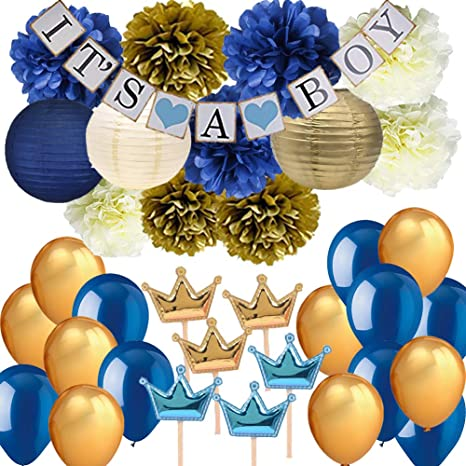 Phenomenal Navy Blue Baby Shower Party Decorations Its A Boy Banner Tissue Pom Pom Paper Lanterns Balloons With Crown Cupcake Toppers Picks For Royal Prince Beutiful Home Inspiration Xortanetmahrainfo