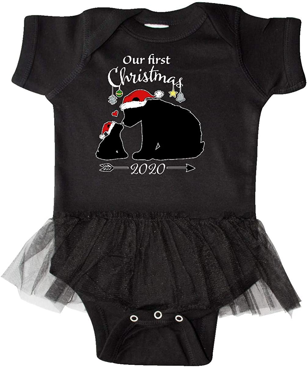 inktastic Our First Christmas Bears in Santa Hats with Infant Tutu Bodysuit