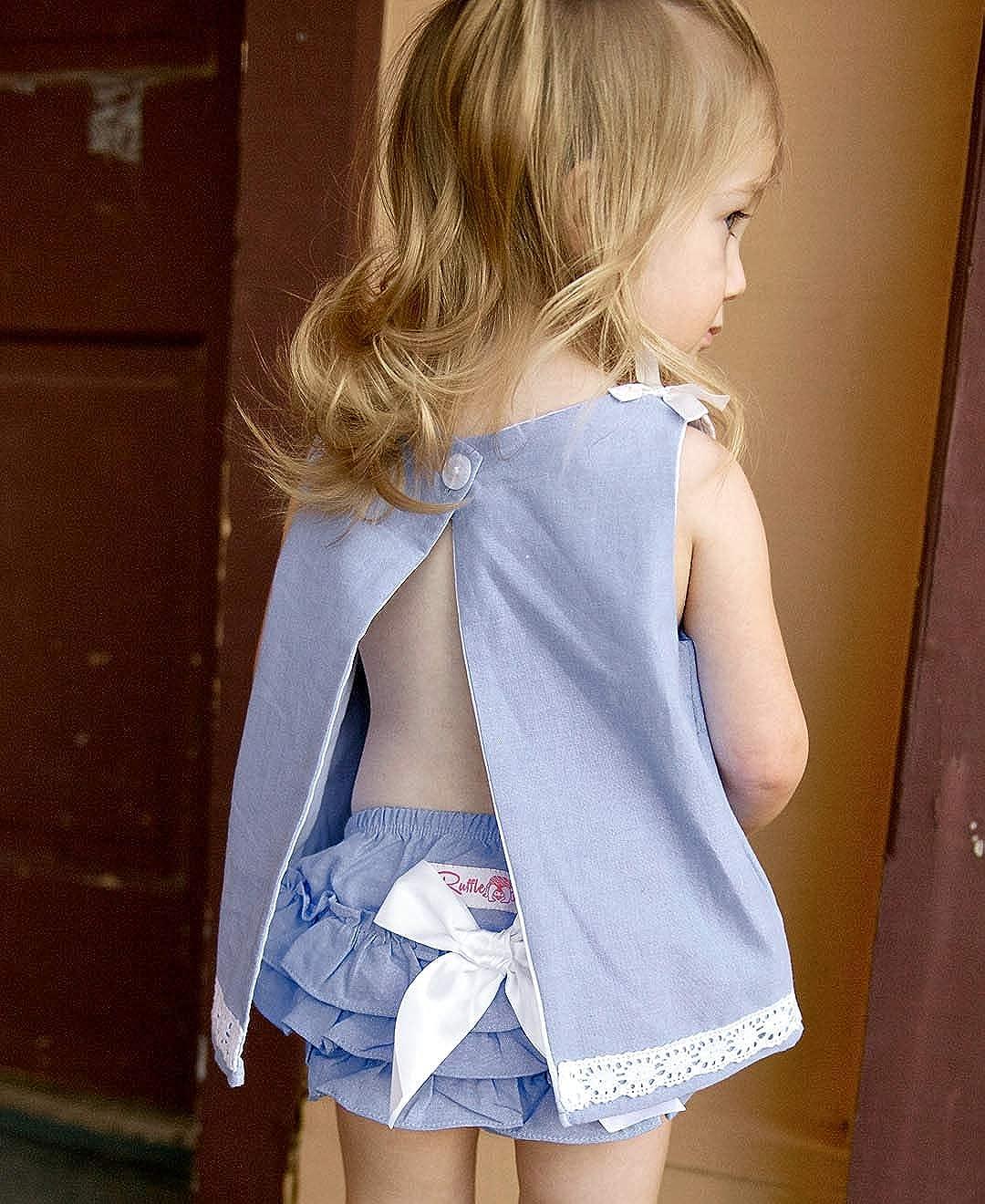 RuffleButts Baby//Toddler Girls Chambray Bloomer w//Bow RBWYYXX-CHAM-SC-BABY