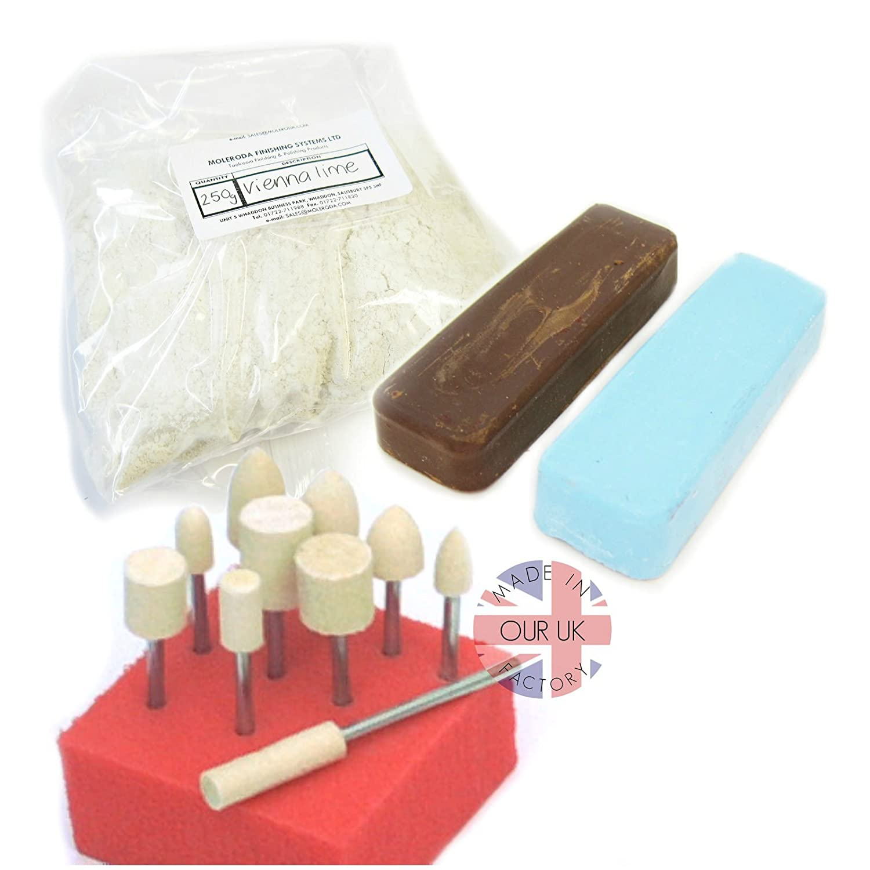 Dremel Style Polishing Kit 1 for Aluminium Felt Bobs, Compound & Vienna Lime Moleroda