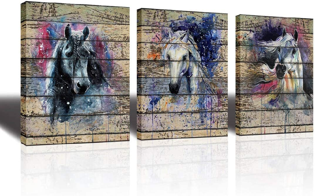 Vintage Wood Panel Decorative Prints Watercolor Canvas Art Horse Animal Painting Prints on Canvas Animal Poster Pictures Framed Ready to Hang 3 Panels Horses Prints Fine Art for Living Room Home Decor