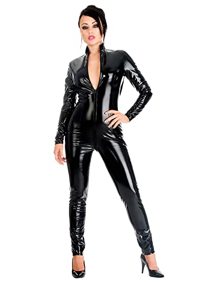 3d96719d38 Honour Women s Sexy Catsuit PVC Black High Glossy Neck and ...