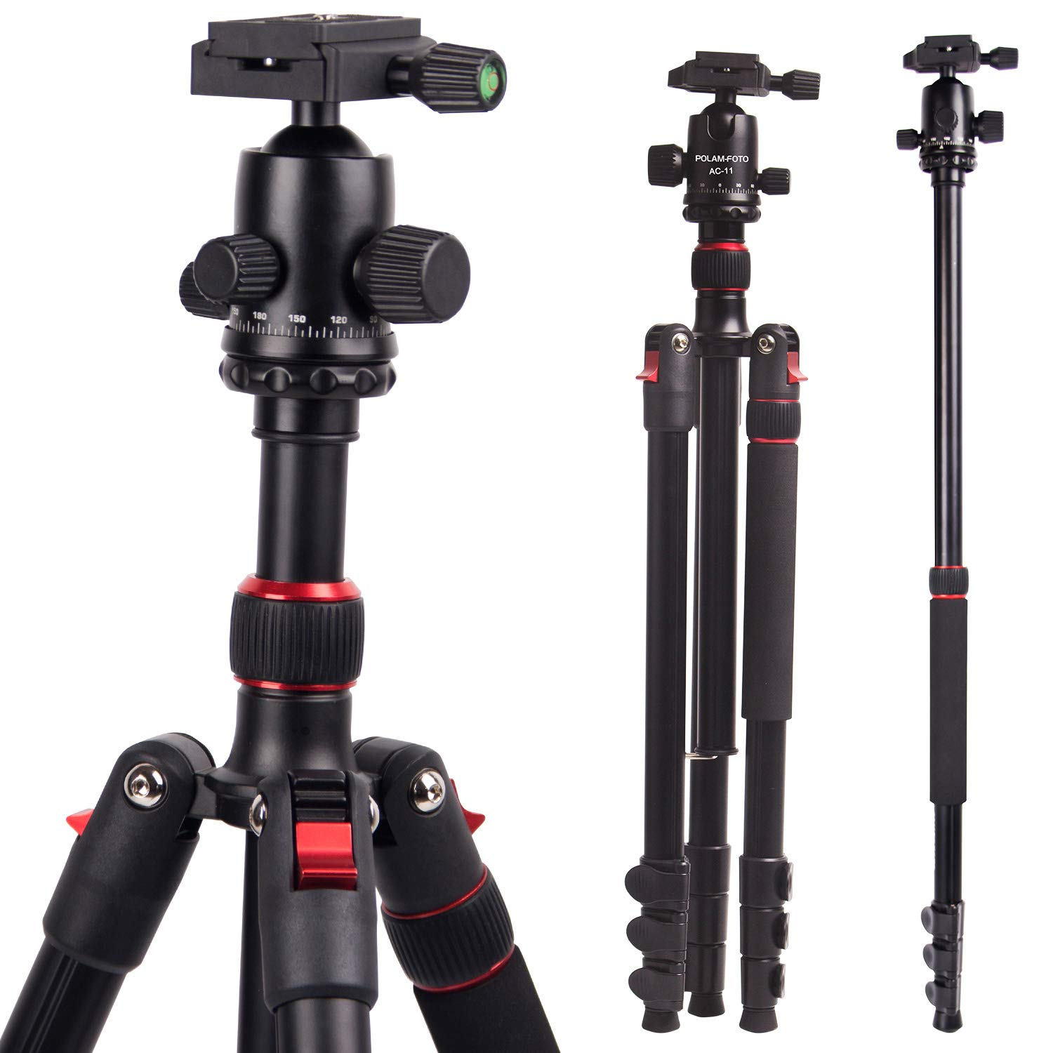 POLAM-FOTO Professional Compact Tripod 66.14''/168cm Aluminum Travel Tripod with Ball Head Monopod 68.11''/173cm with Carry Bag by POLAM-FOTO