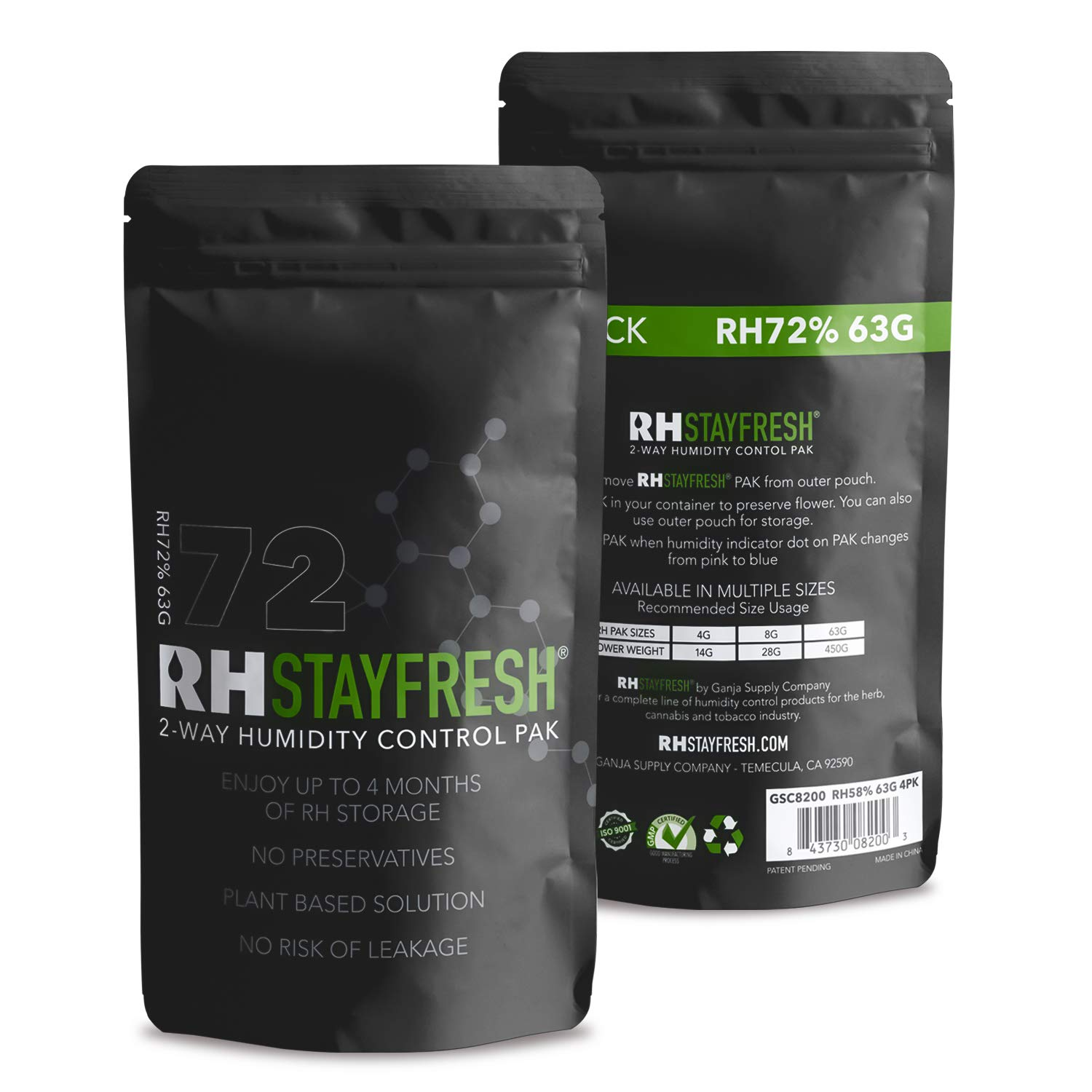 Humidity Pack RH Stay Fresh - for Cigars, 72% Humidity 63 Gram - 5 Pack