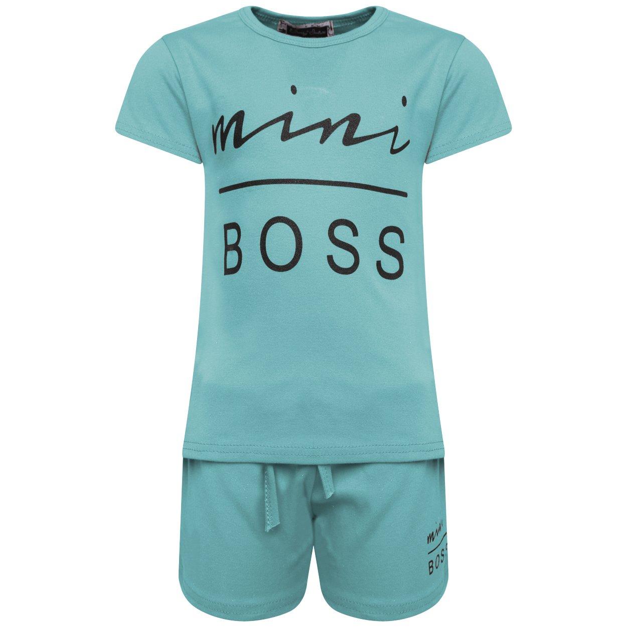 Girls Children\'s Mini Boss Loungewear Printed Slogan Kids Two Piece Two and Shorts Set 2-13