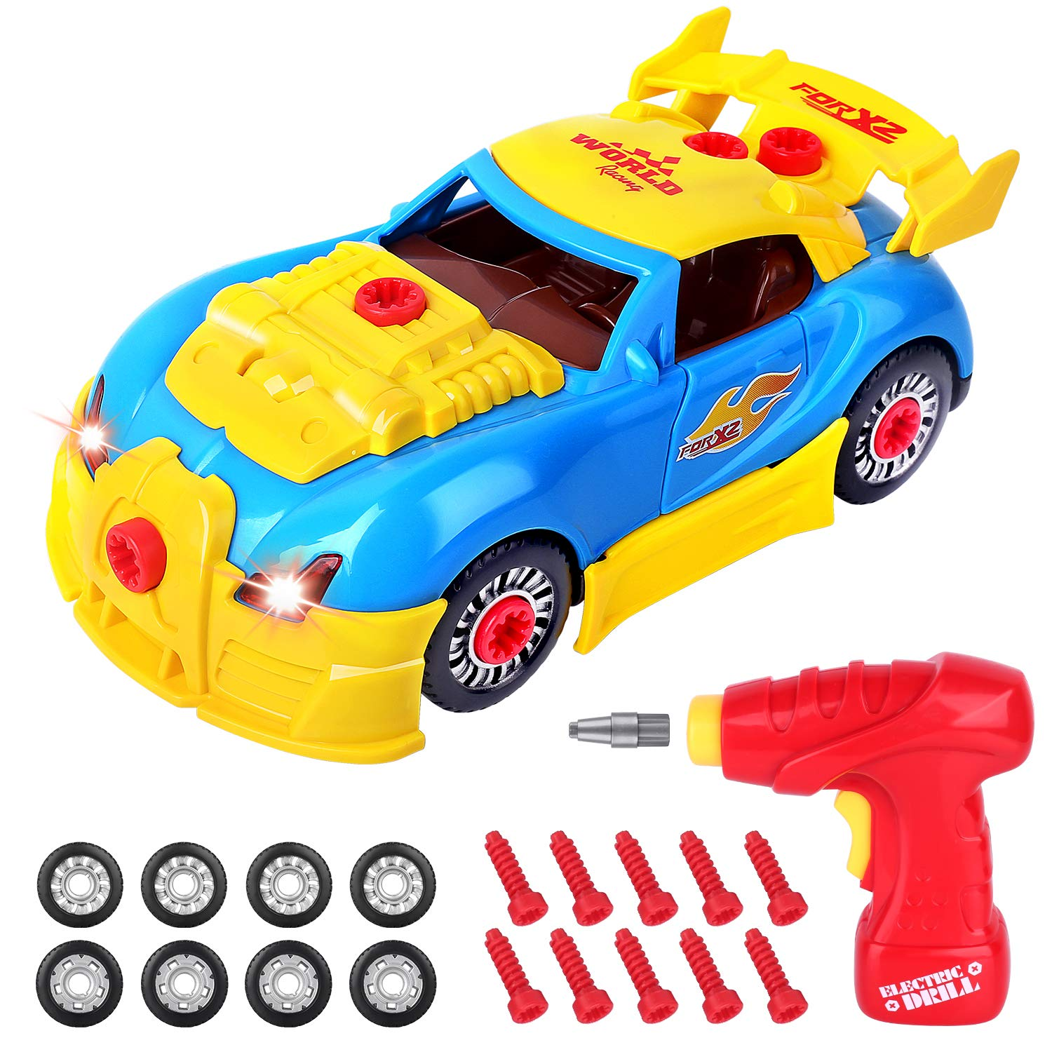 AOKESI Take Apart Racing Car Building Toy for Kids Construction Kits with Sounds & Lights & Drill for Boys Girls Ages 3+ Kids (30 Pieces) STEM Toys by AOKESI