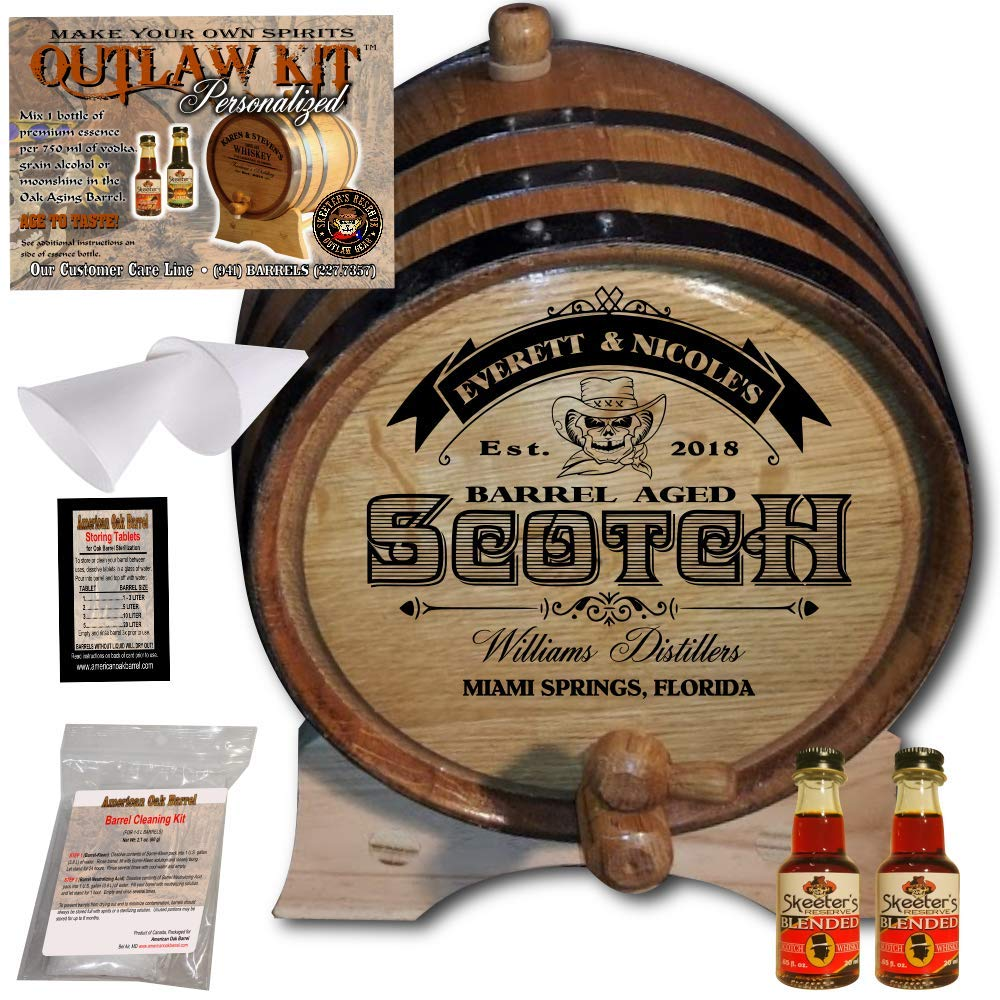 Personalized Whiskey Making Kit (101) - Create Your Own Blended Scotch Whiskey - The Outlaw Kit from Skeeter's Reserve Outlaw Gear - MADE BY American Oak Barrel - (Oak, Black Hoops, 1 Liter)