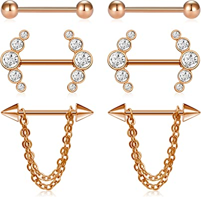 Lauritami 3 Pairs Nipple Rings Hoop With Dangle Chain 14g 16mm Surgical Steel Barbell Rosegold Nipple Shield Cubic Zircon Piercing Amazon Co Uk Jewellery