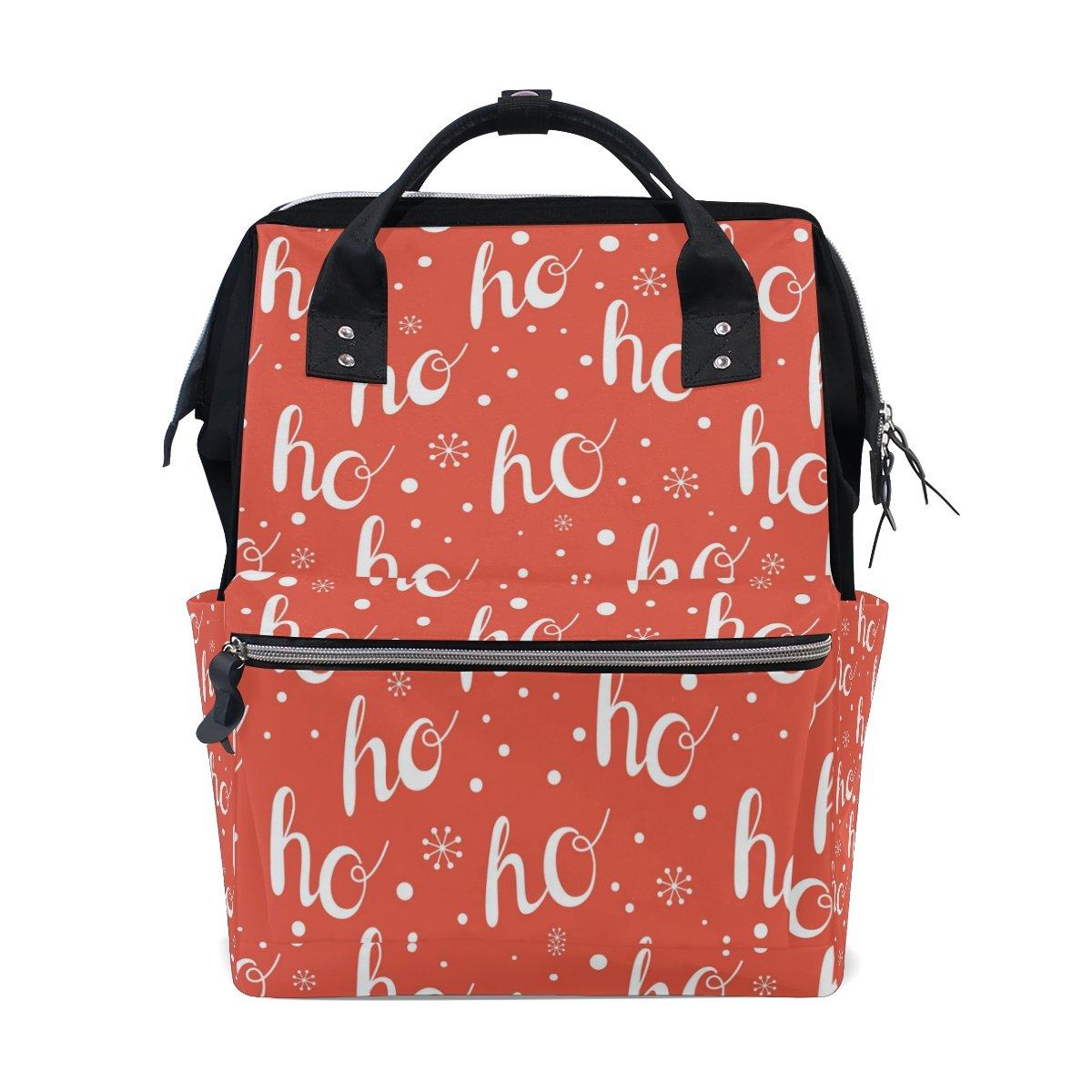 JSTeLノートパソコンカレッジバッグ学生旅行HoHoHo Winter Holidaysレッドandホワイト学校バックパックショルダートートバッグ   B078MRDL1J