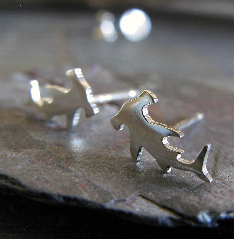 Hammerhead shark post stud earrings polished sterling silver jewelry. Handmade in the USA