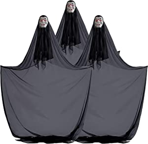 3-Pack of 10 ft. Hanging Vampire Halloween Decorations & Haunted House Props – Scary Floating Dracula for Doorways, Hallways, Parties, Spooky Yard Decor, Indoor/Outdoor Use, Porches, Trees, Windows