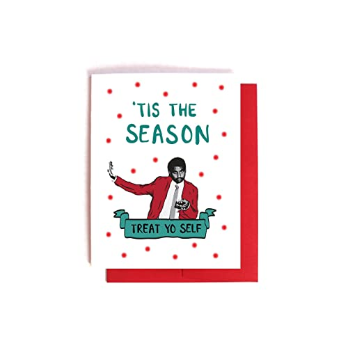 Amazon.com: Tom Haverford Treat Yo Self Christmas Card Parks and ...