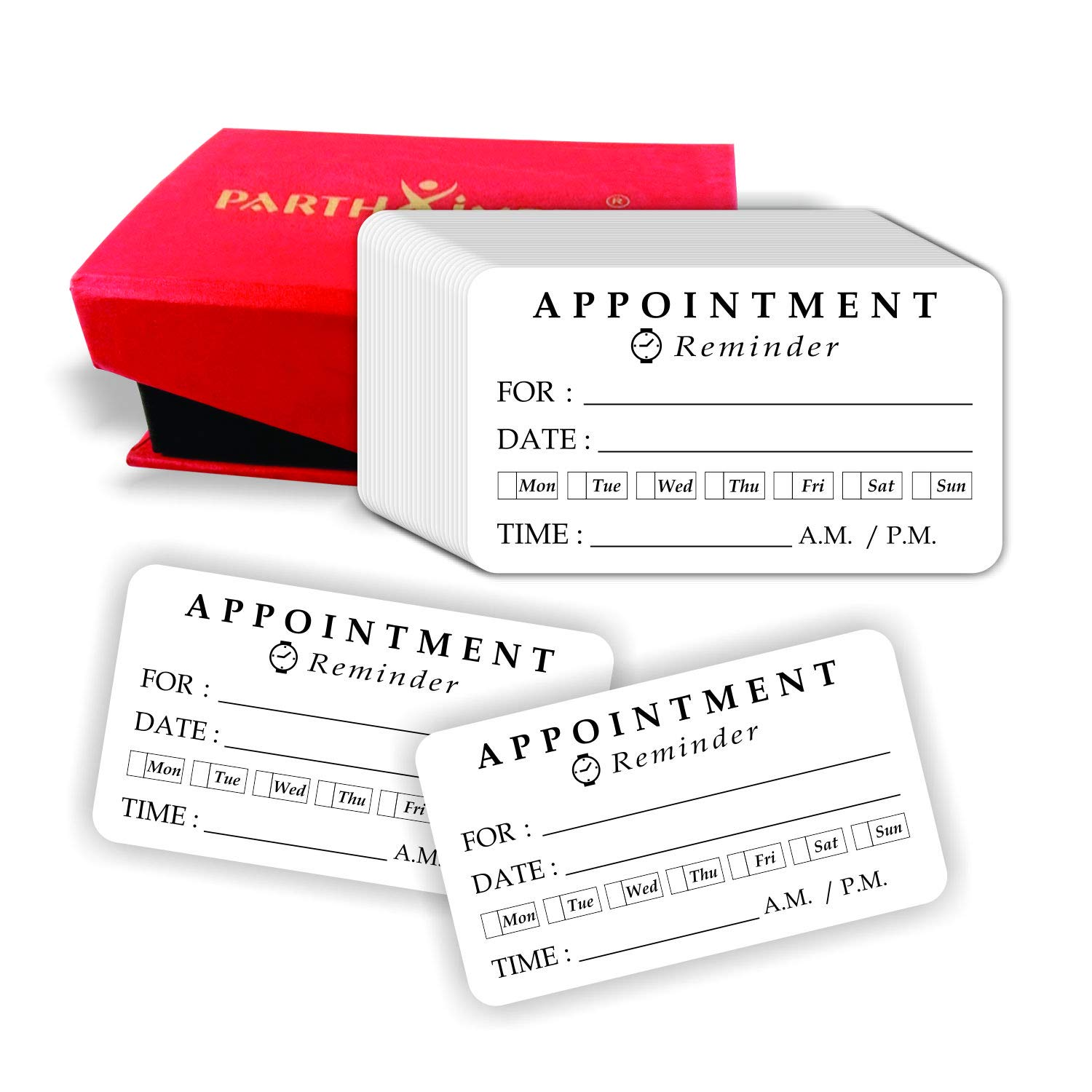 PARTH IMPEX Appointment Reminder Cards 2''x3.5'' White (Pack of 100) 14PT Cardstock Rounded Corner for Business Home Office Customer Service Meeting Day Date Time Planner with Handmade Storage Box