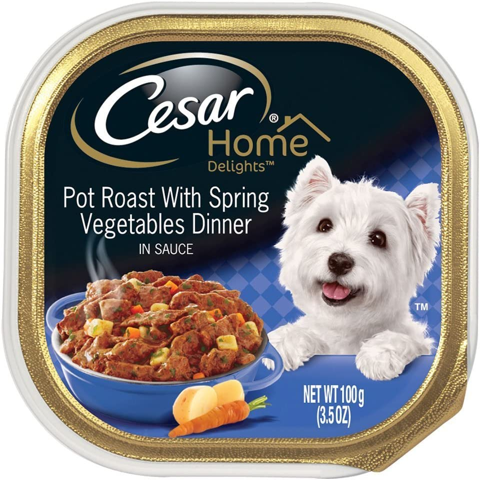 6 Individual Trays of CESAR Home Delights Wet Dog Food Pot Roast with Spring Vegetables Dinner, 3.5 oz. ea