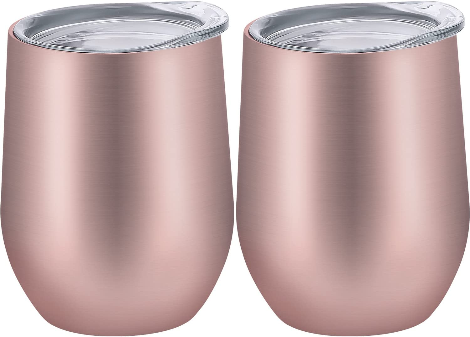Skylety 12 oz Insulated Wine Tumbler with Lid, Stainless Steel Stemless Wine Glass Double Wall Vacuum Insulated Travel Tumbler Cup for Coffee, Drinks, Champagne, Beverage, 2 Pieces (Rose Gold)