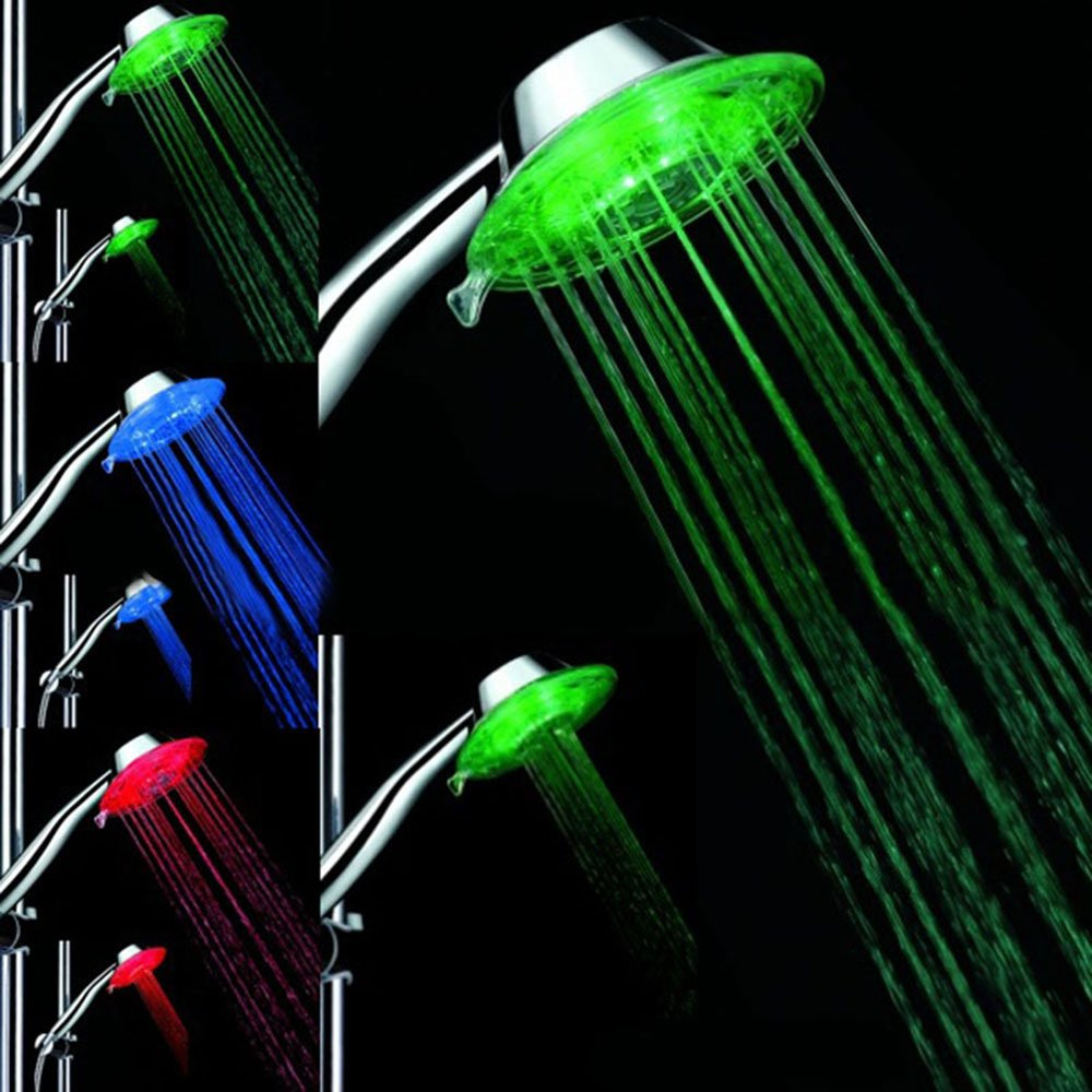 AOXUNE Shower Multiple Colors (Jump Change) Automatically Glow LED 2 modes Shower head for Bathroom with Shower nozzle Handheld LED Showerhead with Air Turbo Pressure-Boost Nozzle Technology 80%OFF