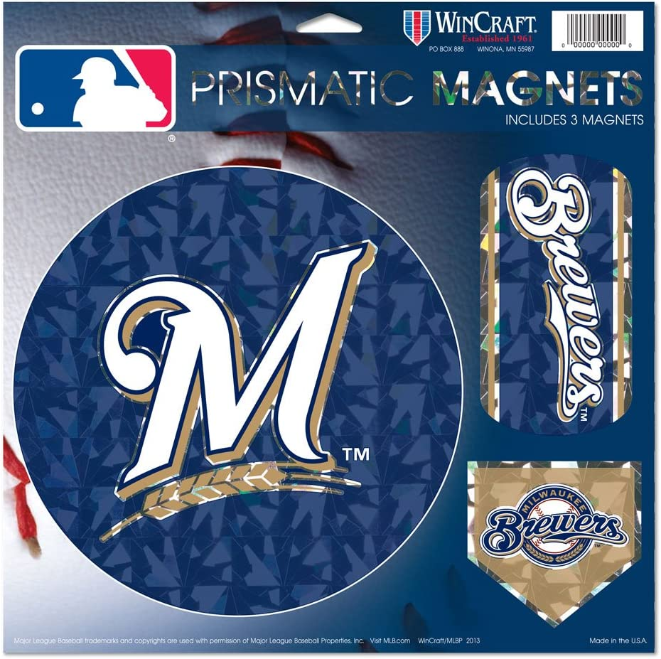 Amazon Milwaukee Brewers Mロゴmlb Prismatic 3 Different Die Cut磁石on Single 11 X 11 シートマグネット Wincraft スポーツファングッズ