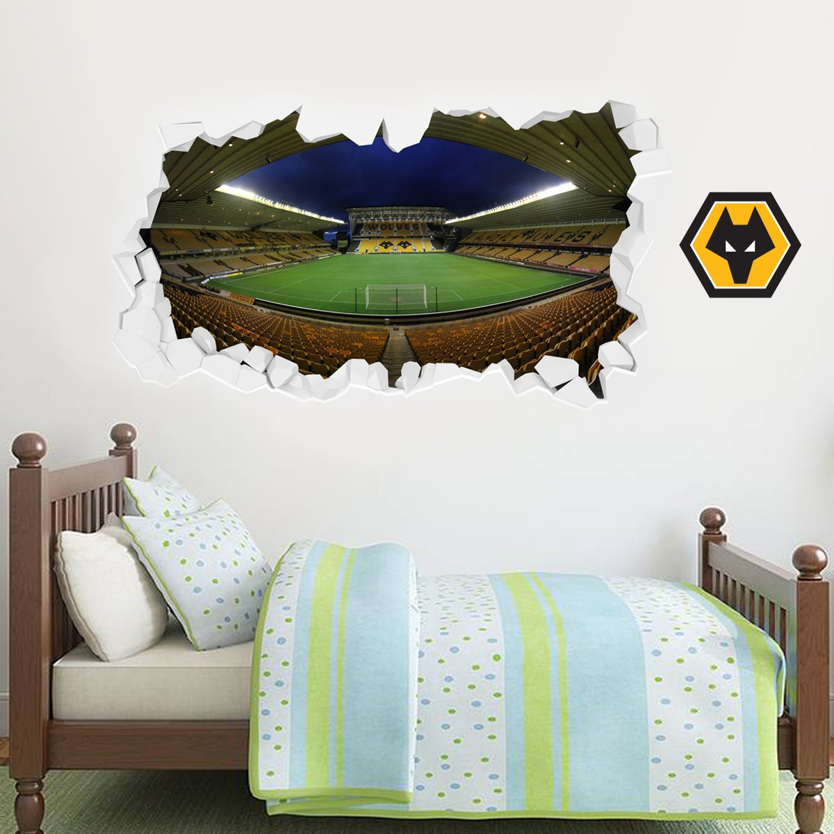 Wolverhampton Wanderers Football Club Molineux Stadium Smashed Wall Art Sticker Mural & x10 Wolves Decals Set (60cm x 30cm)