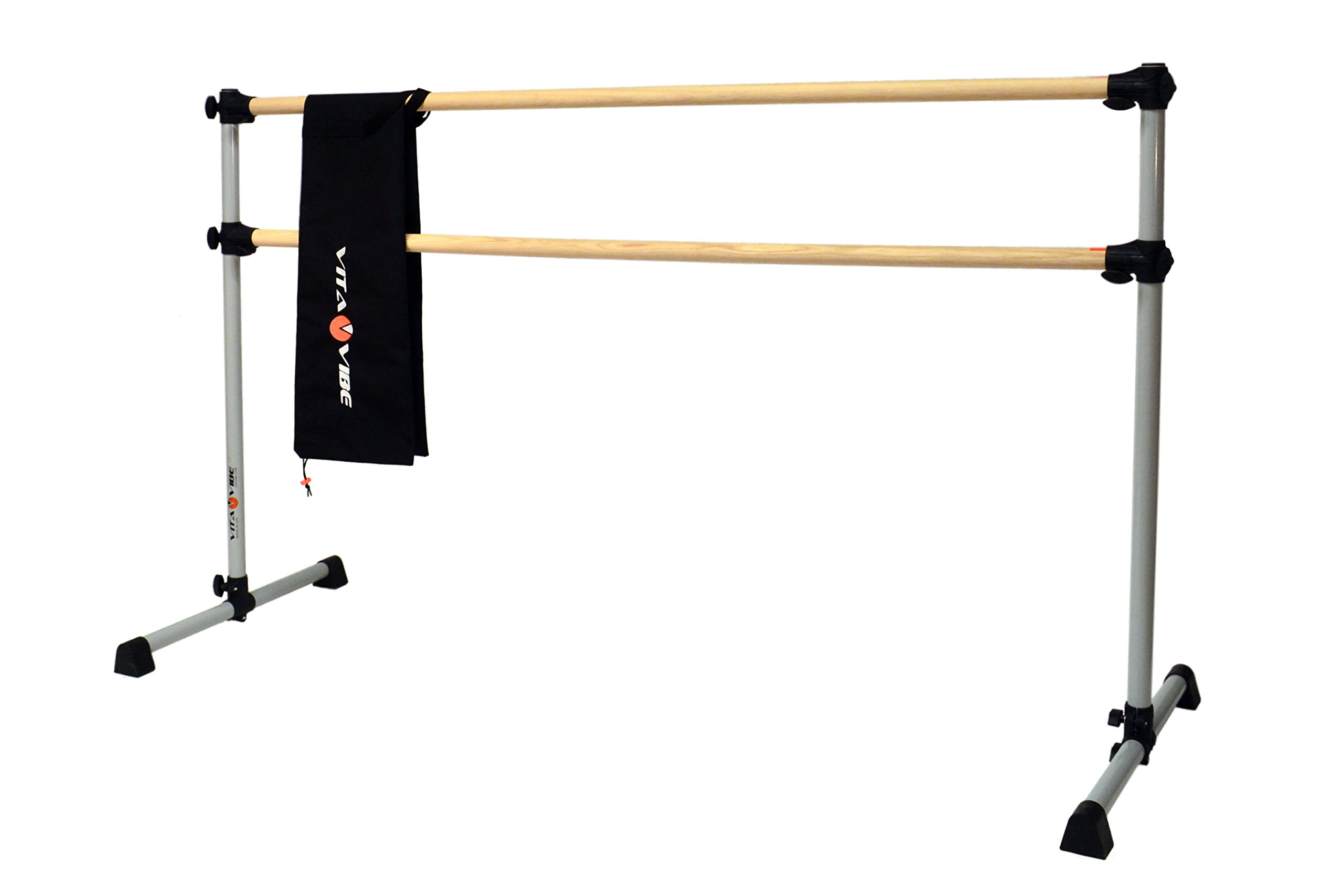 Vita Vibe Traditional Wood Ballet Barre - DBNB4-W 4ft -Portable Double Bar w Carry Bag- Freestanding Stretch/Dance Bar - Vita Vibe - USA Made by Vita Vibe Prodigy Ballet Barres