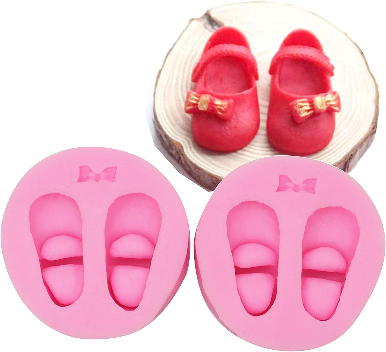 HengKe 2 pcs Baby foot print Baking Molds,3D Baby Shoe Pair with for Fondant, Fimo Clay, Soap Cake Icing Decoration, Sculpted Flower royal Lace baroque scroll Silicone Mold Fondant Mold