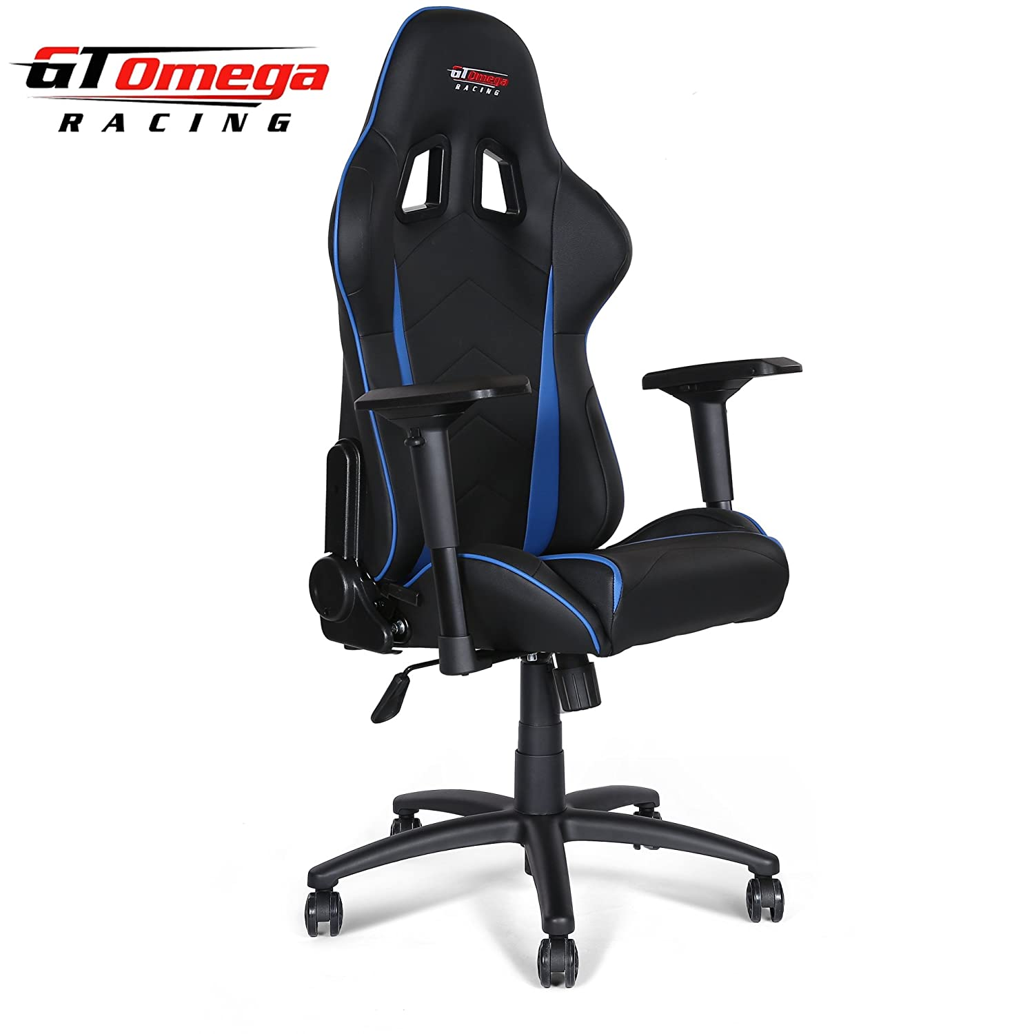 GT OMEGA PRO RACING OFFICE CHAIR BLACK NEXT BLUE LEATHER Amazon