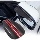 TOMALL 2Pcs Rear View Mirror Rain Visor Smoke Guard Universal Carbon Fiber Rear View Side Mirror Rain Eyebrow for Cars…