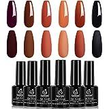 Beetles Red Orange Glitter Gel Polish Set- 6 Colors Fall wedding Collection Purple Black Gel Nail Polish Kit Autumn Fall…