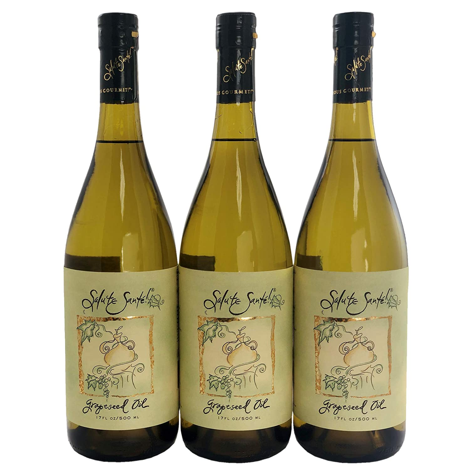 Salute Santé Healthy Food-Grade Grapeseed Oil for Cooking, Special Edition 750-Milliliter Bottle (3-Pack)
