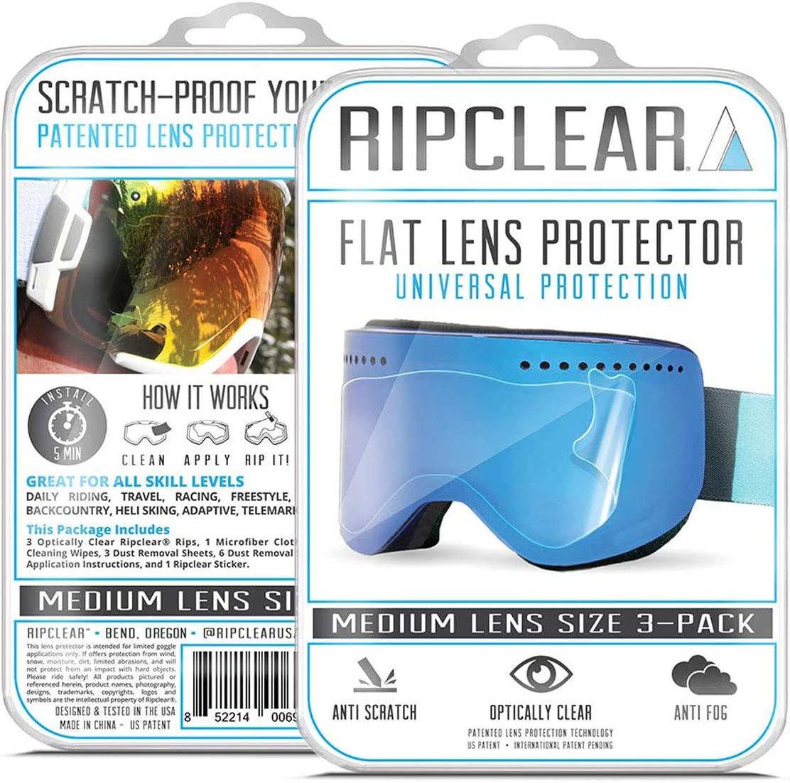RIPCLEAR Lens Protector for Smith Squad Goggles (Universal Medium Fit) - Protect Your Lens from Scratches While You Ride, Crystal Clear USA Military Grade Protection, 3 Pack