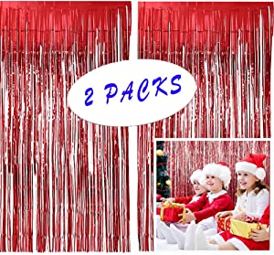 Christmas Decoration Red Metallic Tinsel Foil Fringe,Metallic Photo Booth Tinsel Backdrop Door Curtains for Wedding Birthday Baby Shower Bachelorette Christmas Party Decorations(2 Pack, 40in x 80in
