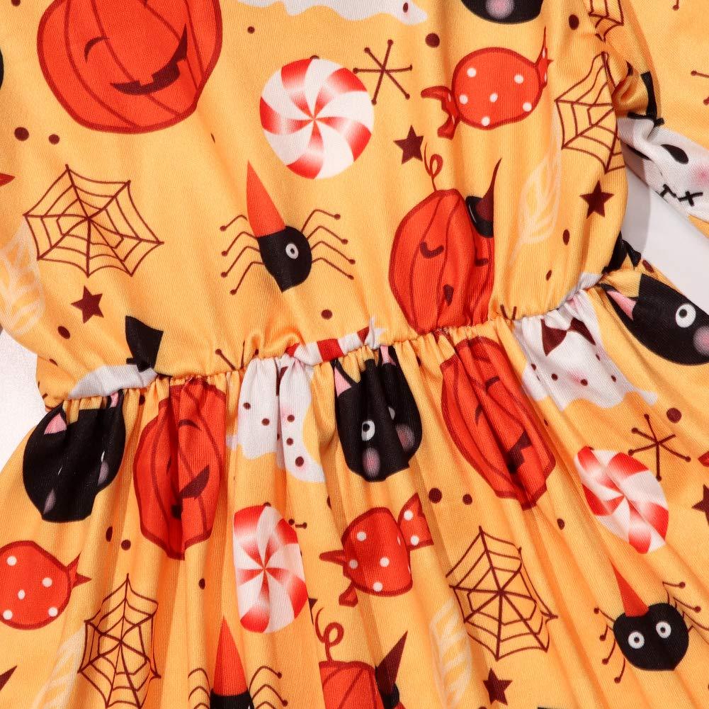 Ttkgyoe Toddler Kids Baby Girl Dress Little Girl Long Sleeve Pumpkin Print Halloween Dresses