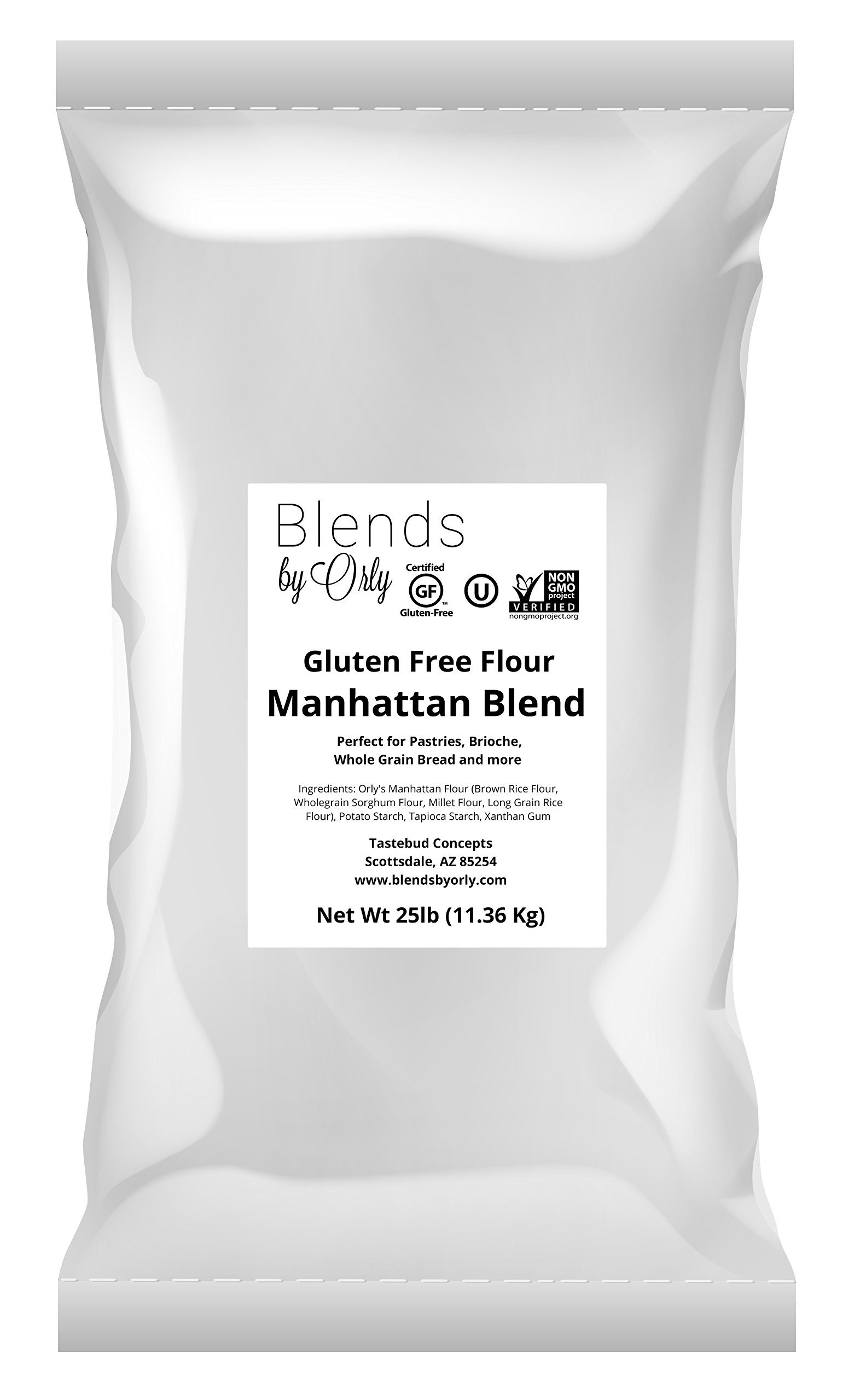 Premium Gluten Free Pastry Flour | Gluten Free Donut Flour - Baking Flour for Gluten Free Challah Bread, GF Brioche Bread, GF Cinnamon Roll & Gluten Free Bagels from Manhattan Blends by Orly 25 LB Bag by Blends By Orly
